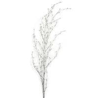 62 Inch Bamboo Spray with Pearls - Silver/White