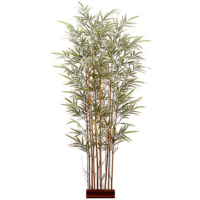 5 Foot H x 24 Inch W Bamboo Wall Divider with 960 Leaves on Wood Stand