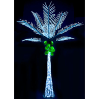 12.5 Foot Lighted Palm Tree with Coconuts - White Colored Lights