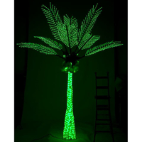 12.5 Foot Lighted Palm Tree with Coconuts - Green Colored Lights